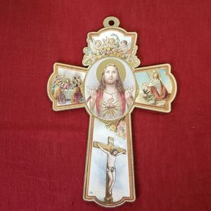 "Wall Cross "" Sacred Heart """